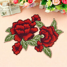 Rose Big Flower Embroidery Sew On Iron On Patch Badge Clothes Fabric Applique