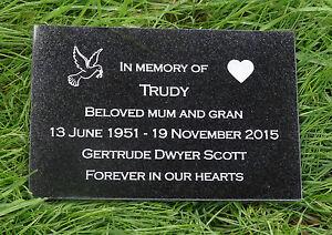 Engraved Natural Granite Memorial Plaque Grave Marker Headstone 30cm x 15cm