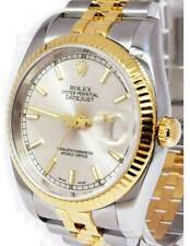 Rolex Datejust 18k Yellow Gold & Steel Silver Index Dial Mens 36mm Watch 116233
