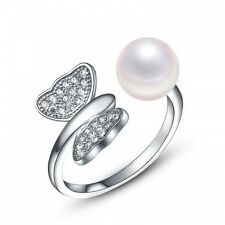 Freshwater Pearl 925 Sterling Silver Ring Size 6