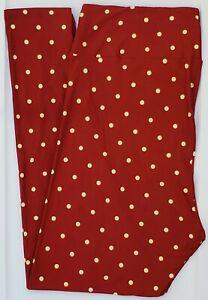 TC LuLaRoe Tall & Curvy Leggings Dark Red Cream Polka Dots NWT F46