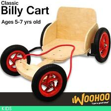Kids Children Billy Cart Adjustable Length Ride Timber Go Kart Metal Brake AU