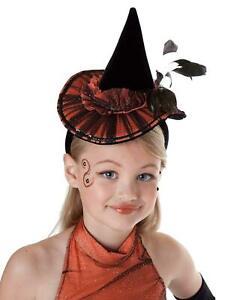 Mädchen Fasching Halloween Karneval Kostüm Hexen Haarreifen Hut Girls
