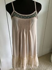 RYU Beige Camisole Tunic w/ Lace Ruffle Bottom Size Small