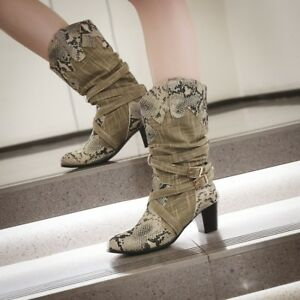 Women Gladiator Slip On Block Mid Heels Mid Calf Boots Floral Chunky Roman Shoes