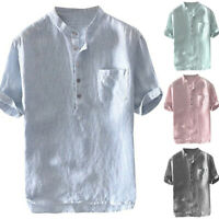 Herren Freizeithemden Hemd Baggy Shirt Stehkragen T-Shirt Kurzarmshirt Mit Tasch