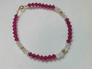 Dainty 14k yellow gold, clear & magenta pink faceted crystal bracelet.