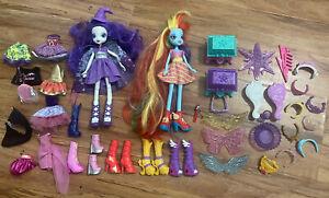 "My Little Pony Equestria Girls Dolls 9"" Lot Of 2 Bundle w/ Accessories + Tiaras"