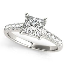 1.25 Ct Princess Cut Diamond Engagement Rings 14K White Gold Size J K L M N