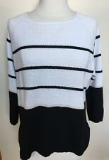 FRENCH CONNECTION White Black Stripe Cotton Blend Chunky Knit 3/4 Sleeve Top M