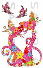 180mm Cats & Butterflies Full Colour Vinyl Stickers, Laptop Car Van, Bike etc,