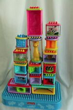 Fisher Price LOT- Bristle Building Blocks Stackable Toy Animals and Roll Arounds
