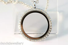 30mm Crystal Floating Memory Locket REVERSIBLE Round White Gold + Chain Charm!