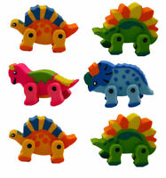 6 Dinosaur Erasers - Loot/Party Bag Fillers Wedding/Kids Rubbers Stationery