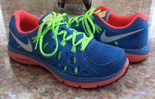 NIKE Dual Fusion Run 2 Women's Blue Neon-Coral Running Shoes Size 8 #599564-400