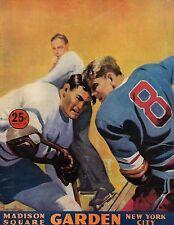 1946-47 New York Rangers-Bruins Program B's Blank Blue Shirts NICE!!