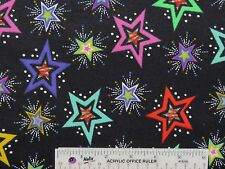 Bright Colorful Stars on Black Background Cotton Flannel Fabric  BTY   (I-3) >