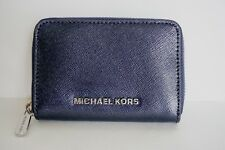 Michael Kors Jet Set Travel Zip Around Card Case Leather Wallet Metallic Navy