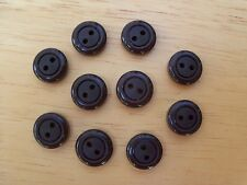 10 BROWN VINTAGE CIRCLE DESIGN CASEIN SCHWANDA Buttons NOS SEWING CRAFT 11mmx4mm