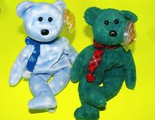 LOT OF 2 - TY HOLIDAY BEARS - 1999 and WALLACE - BOTH ADORN SCARVES - MWMT