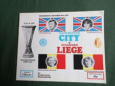 MANCHESTER CITY - STANDARD LIEGE - UEFA CUP 2nd  ROUND - 1st LEG  - 1978