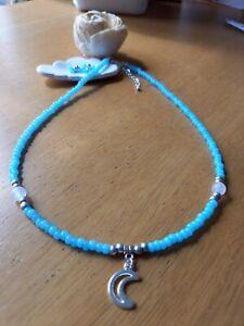 White Quartz & blue glass bead necklace with crescent moon charm pendant