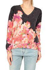 Geblümte Feine Damen-Pullover & Strickware mit V-Ausschnitt ohne Verschluss