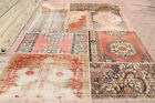 7.8x10.9 Patchwork Turkish Vintage Rug, Authentic Home Decor Bohemian Faded Red