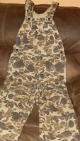 "Vintage Duck Bay Camouflage Bib Overalls Hunting~Working Size 36""W×29""L Clean."