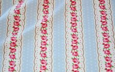 Floral Stripe Fabric  *** ON SALE *** 100% Cotton Material    Blue / Ivory