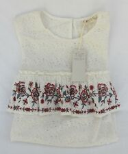 Ladies Marks and Spencer Ivory Mix Sleeves Top With Floral Frill Size 16
