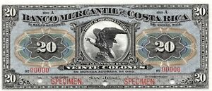 Costa Rica  20  Colones  ND. 1910  S 203s  Series A  Rare  Uncirculated Banknote