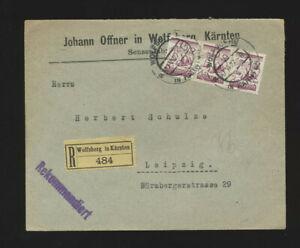 Geschäfts-Reco-Brief 1927  Wolfsberg in Kärnten mit 3 x 15 Groschen nach Leipzig