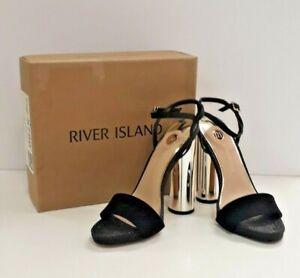 Women Ladies ex River Island metallic heel sandal
