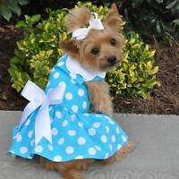 Blue Polka Dot Dog Dress & Matching Leash Doggie Design