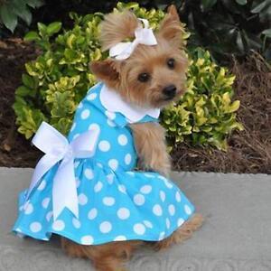 Doggie Design Blue Polka Dot Dog Dress & Matching Leash XS-S-M-L