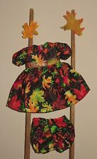 """Handmade Doll Clothes for 16"""" - 18"""" Baby Dolls - """"Fall Leaves"""" Dress Set"""