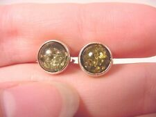 (pe28-b)  green Baltic AMBER round .925 Sterling SILVER stud EARRINGS Poland