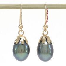 14k Yellow Gold Fish Hook & Claw AAA Black Cultured Pearl Dangle Earrings TPJ