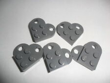 5 Dark gray Lego heart coupling plates 3176 Modified 3 x 2 heart necklace parts