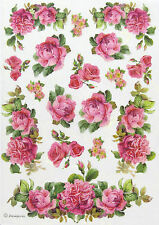 Rice Paper -Roses and Garland- for Decoupage, Scrapbook Sheet, Craft
