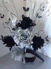 Artificial Silk Flower Arrangement In Black &Silver in Small Modern Shaped Vase