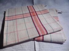 DEUX SERVIETTES DE TABLE VINTAGE RAYURES ORANGE X VERTE EN METIS 55x55