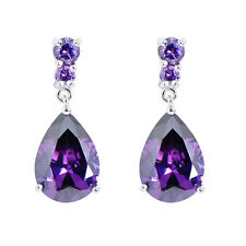 Teardrop Shaped Purple Amethyst Gems Drop/Dangle Earrings 10KT White Gold Filled