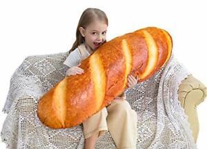24 in 3D Simulation Bread Shape Pillow Soft Lumbar Baguette Back Cushion Funn...