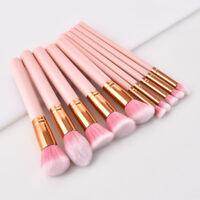 GUJHUI 10pcs Pro Pink Makeup Brushes set Blending Eyeshadow Cosmetics brush