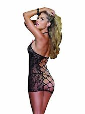 STRETCH LACE HALTER CHEMISE SLIP WITH CRISS CROSS BACK DETAIL