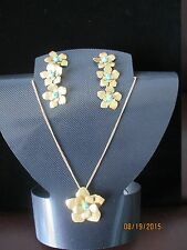 Boheme by the Stones Flower Set Necklace Pendant Earrings w/Turquoise Beads NIB