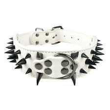 "2.0"" Wide Cool Sharp Spiked Studded Leather Dog Collar for Pitbull Mastiff Bully"