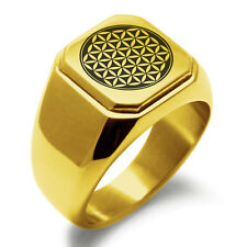 Mens Square Biker Style Signet Ring Stainless Steel Flower of Life Symbol